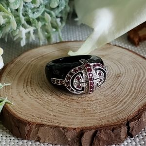 Ruby & Carved Onyx Ring